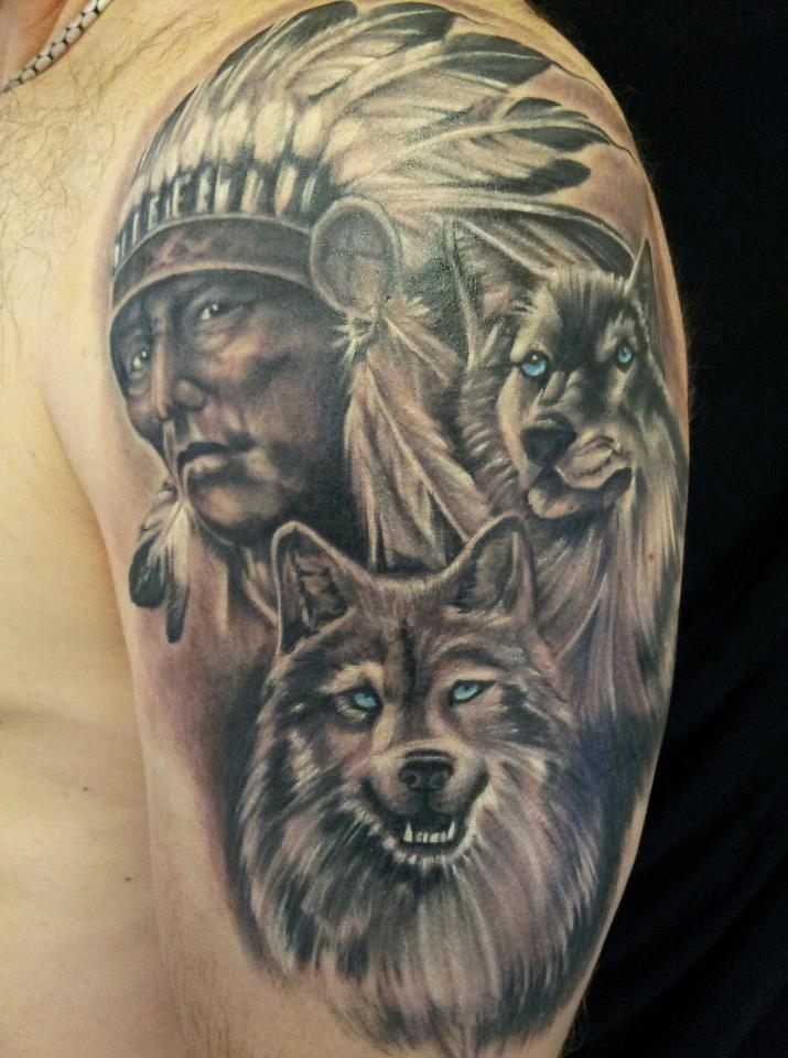 pin indian chief and wolf tattoos tattoo designs on pinterest. Black Bedroom Furniture Sets. Home Design Ideas